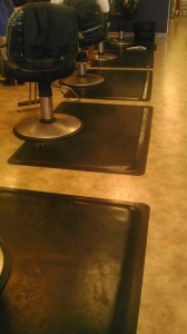 Marble anti fatigue mats at salon stations