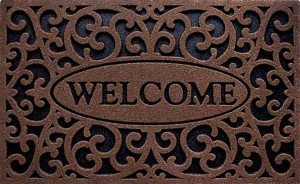 The Cleanscrape Welcome Iron Front Door Mats in Coffee Color
